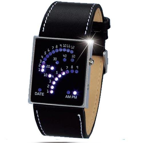 Binární hodinky s koženým páskem Široký výběr LED hodinek a ... 8df239b3f7
